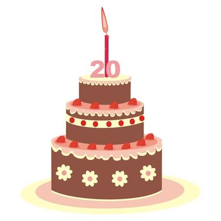 twenty: birthday cake, twenty years Illustration