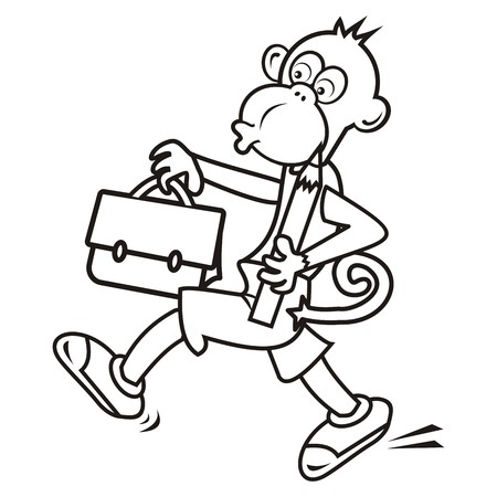 schoolbag: monkey and schoolbag,coloring