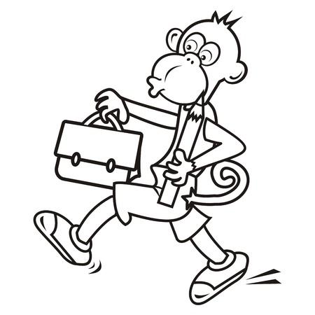 schoolbag: monkey and schoolbag,coloring