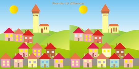 ten: game for children, find ten differences Illustration