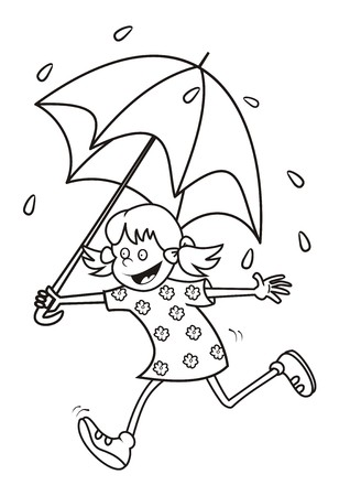 girl and umbrella coloring Vector