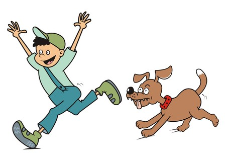dog run: boy and dog run