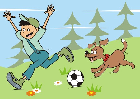 spurt: boy and dog in nature