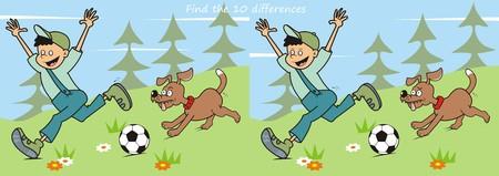 ゲームを見つける 10 の違いの少年と犬