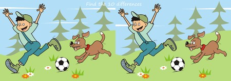 spurt: game find ten differences boy and dog