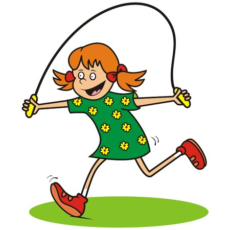 jump rope: girl and jump rope Illustration