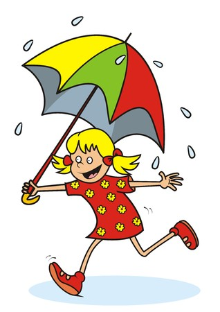 girl and rain Vector
