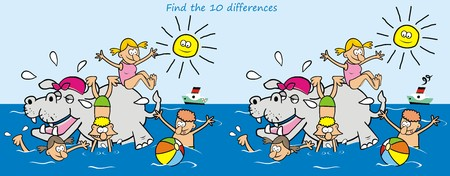 water slide: Find ten differences hippo and kids Illustration