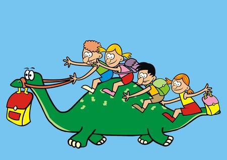 dinosaur and children Vector