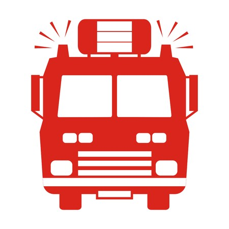 fire truck red silhouette Vector