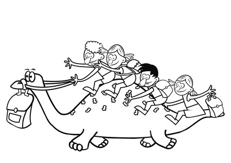 dinosaur and children coloring book