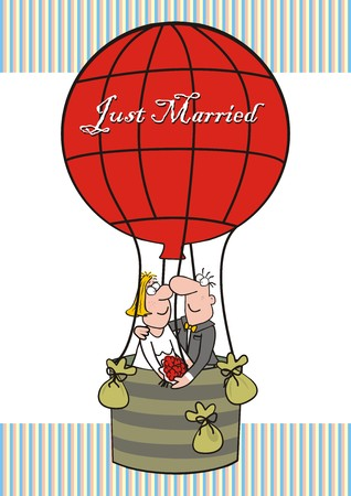 Just Married balloon card