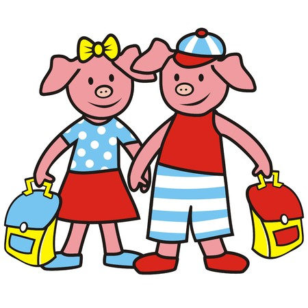 pigling: pigs and schoolbag