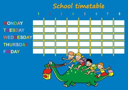 cronograma: horario escolar, dinosaurio