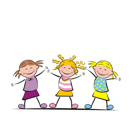 three jumping girls Illustration