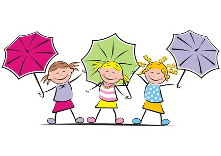 gambol: girls and umbrella Illustration