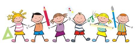 kinderen en de school apparatuur Stock Illustratie