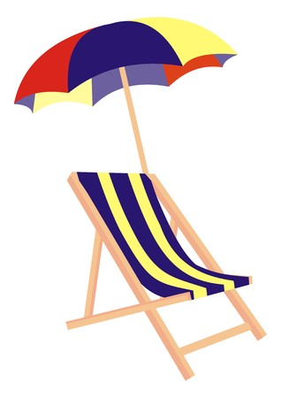 bask: lounger and parasol Illustration