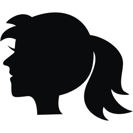 damsel: portrait, black silhouette