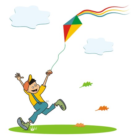 papery: boy and kite