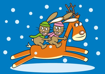 hares: Hares and two reindeer Illustration