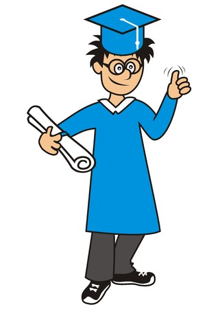 student boy: graduation student, boy Vettoriali