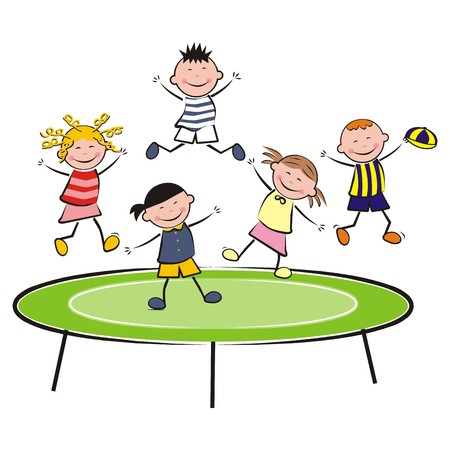 gambol: trampoline, jumping kids smile, vector icon Illustration