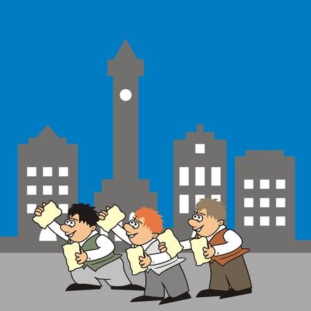해학적 인: Three dealers, humorous figurine, vector illustration