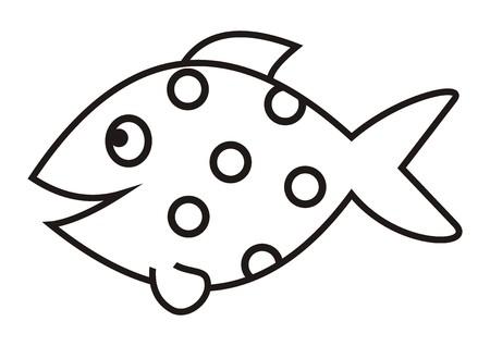 魚、ベクトルのアイコン、塗り絵を笑顔します。  イラスト・ベクター素材