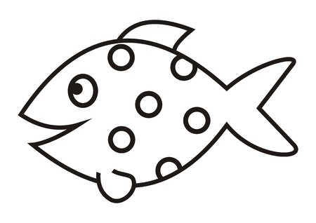 smile fish, vector icon, coloring book
