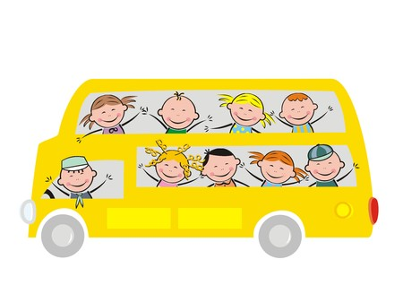 double decker bus: bus and kids