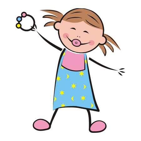 wench: Little girl with a pacifier and a toy. Happy kid in hernightgown. Vector illustration. Illustration