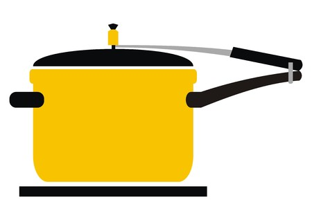 warm things: Pressure cooker in black and yellow silhouette of kitchenware