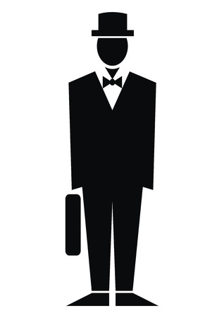 satchel: Figurine and bag, black silhouette of man with satchel, vector icon.