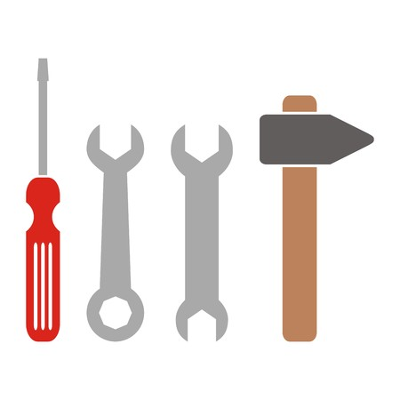 adjusted: tools, screwdriver, hammer and spanners, colored icon Illustration