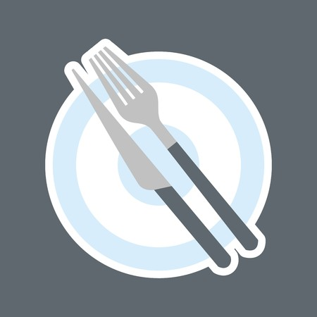 food plate: dining set, white contour, vector icon