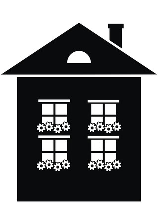 house with flowers, black vector icon