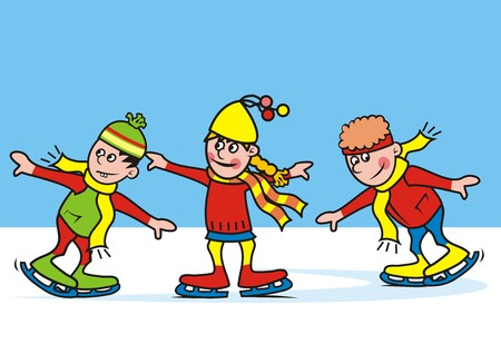 wench: Skating, children skates at the rink, amusing characters, vector illustration. Illustration