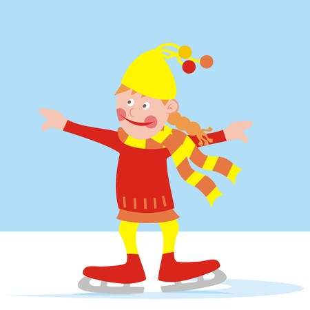 wench: Girl with skates at the rink. Colored vector illustration. Illustration