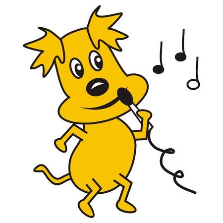 baile caricatura: Perro del canto con un micrófono. En el fondo son las notas musicales. Ilustración divertida.