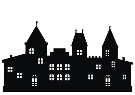 pinnacle: castle, black silhouette, vector icon