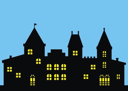 residency: Castle in night.Illuminated castle. Night picture. Vector illustration Illustration