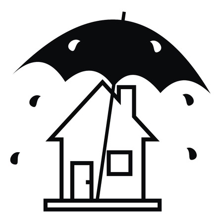 roof profile: House and rain, black and white silhouette. Amusing illustration with umbrella. Vector icon.