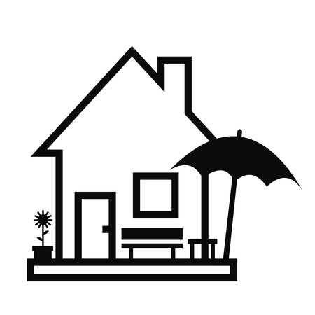 roof profile: House and garden furniture, black contour, vector icon