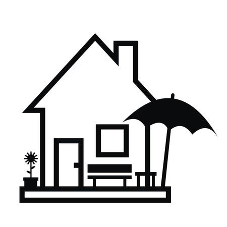House and garden furniture, black contour, vector icon