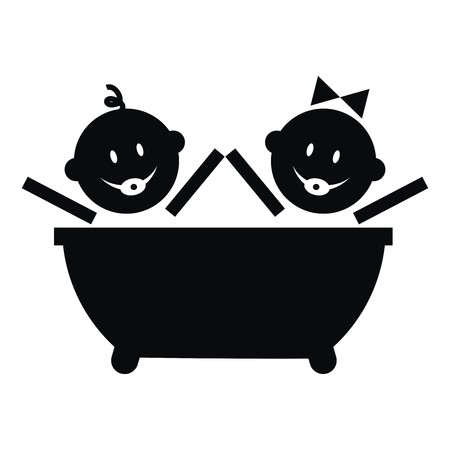 infant bathing: Bathtub and toddler, black vector icon. Boy and girl. Illustration