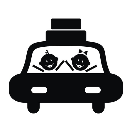 해학적 인: Car and toddler, girl and boy. Black vector icon. Humorous illustration.