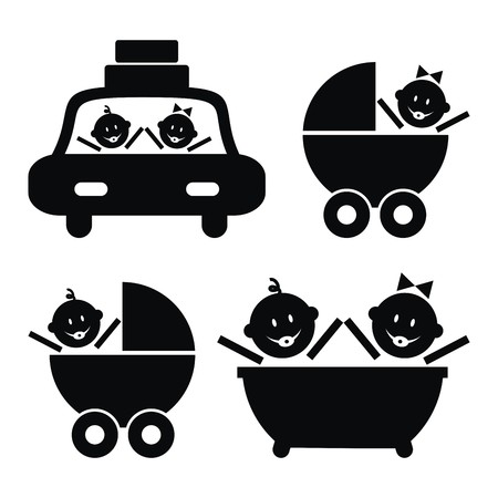 infant bathing: Toddler in car, in stroller in and bathtub. Black vector icons.