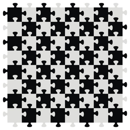 chequer: Chessboard as puzzle, black and gray color. Vector icon.