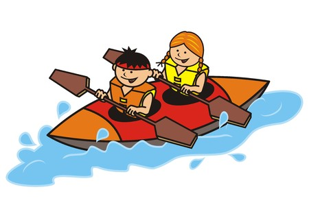 canoa: canoa doble, niño y niña, icono del vector